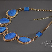 Bib Necklace in Blue and Gold