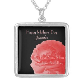 Personalized Necklace Coral Pink Rose Mother's Day