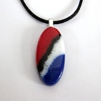 Red White Blue Necklace, Oval Necklace, Glass Fusing, Modern Jewelry - Cayson - 4625 -2