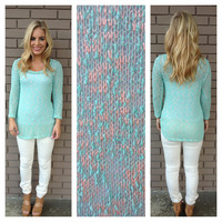 Mint Long Sleeve Knit Sweater Top