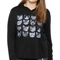 Plus Size Long Sleeve French Terry Hoodie with Cats Screen