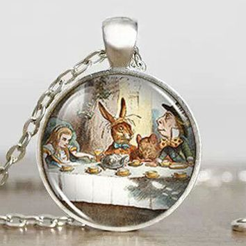 Steampunk US Movie Alice in Wonderland Fantasy Vintage Pendant Necklace 1pcs/lot mens handmade jewelry dr who chain rabbit toy