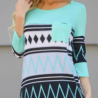 Everyday Aztec Tunic Mint