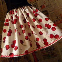 PIn Up Clothing Cherry Skirt Womens Pin Up Full Skirt by Roobys