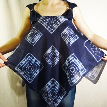 Fashion Tunic Top Cover-Up. Hand Dyed Shibori Summer Clothing. Silk Cotton Blouse. Free size. Original design. Blue White. Trending. Ready
