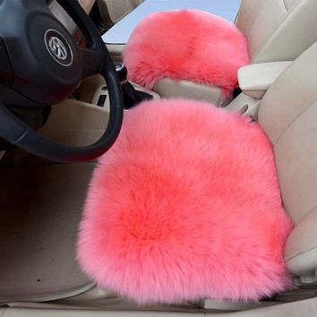Pink Color 2pcs Genuine Sheepskin Car Seat Covers Sheepskin Car Cushion Front Driver Seat Cover Kits « Z Car Seat Cushions
