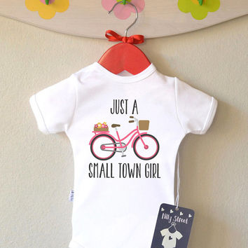 ON SALE Baby Girl Bodysuit - Small Town Girl Baby Romper.  Typography Children's Outfit. Cute Kids Apparel Small Town Girl Baby Shower Gift