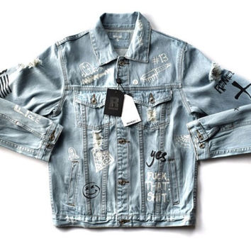 Graffiti Onyx Hearts Denim Jacket
