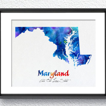 Maryland State Map USA, Watercolor Print, Art Print, Wall Art Poster, Wall Decor, Art Home Decor, Wall Hanging Item 187