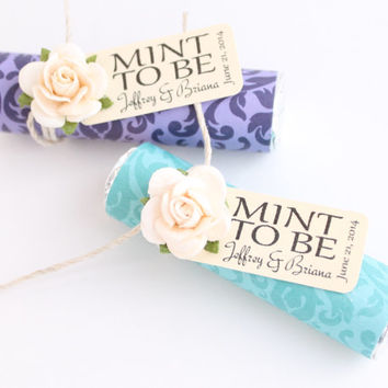 "24 Mint Wedding Favor with Personalized ""Mint to be"" tag - set of 24 favors, turquoise, Tiffany blue, light blue, teal, damask wedding"