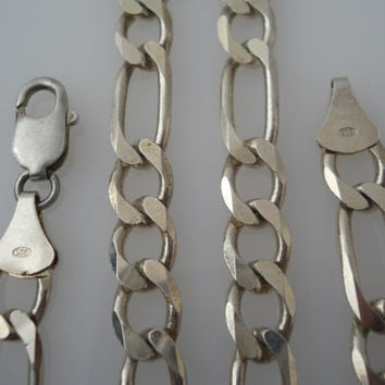 Sterling Silver 925 Figaro Chain Necklace 19.5 in 9mm Italy 925 MD28V