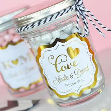 Personalized Metallic Foil Mini Mason Jars - Wedding (Set of 24)