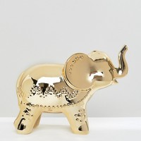 New Look Elephant Gold Metallic Money Box at asos.com