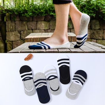5 pairs/lot 2018 New Summer Socks Mens Casual Silicone Sock Low Cut Slippers No Show Cotton