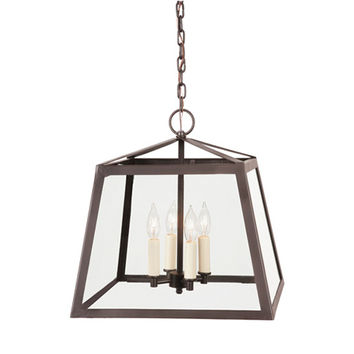 JVI Designs 3037-08 Troy Oil Rubbed Bronze Four-Light Large Lantern Pendant with Clear Glass