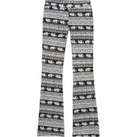 Full Tilt Elephant Print Girls Flare Pants Black/White  In Sizes
