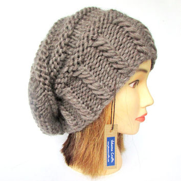Slouchy beanie hat taupe slouch hat chunky knit slouchy hat Irish knit accessories for women with button warm winter hat wool birthday gift