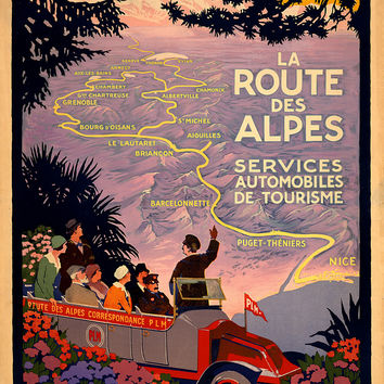 Vintage French Travel Poster Route Des Alpes
