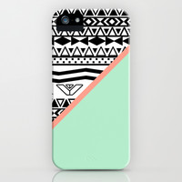 Block | Black White Aztec Pattern Mint Green Color Block iPhone & iPod Case by Girly Trend