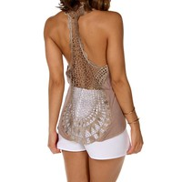 Sale-taupe Crochet Back Sleeveless Top