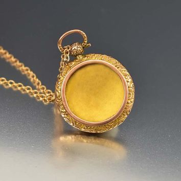 Engraved Antique Rose Gold Shaker Locket C.1850