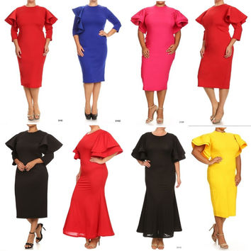 Bodycon Midi Dress Ruffle Women's Plus Size Flutter Sleeve Peplum