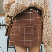Kawaii Woolen Plaid Skirt