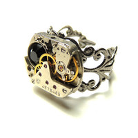 steampunk watch movement ring- adjustable-victorian rings - handmade ring