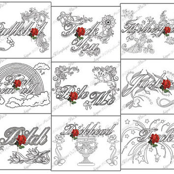 """Swear Coloring Page """"Pack 9 swear"""" Doodles - 2 background white and black - f*ck swear"""