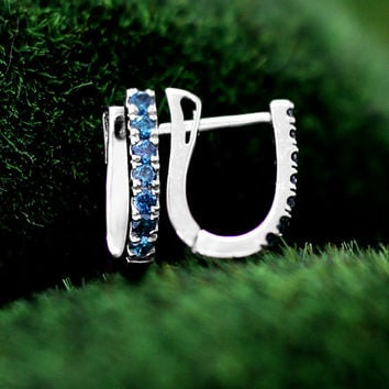 Blue Diamonds 14k Solid White Gold Huggie Earrings (Free Shipping)