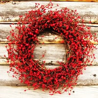 FIRE ENGINE RED- Classic Red Berry Wreath-Christmas in July Primitive Wreath-Americana Door Decor-Scented Cinnamon Stix- Choose Scent
