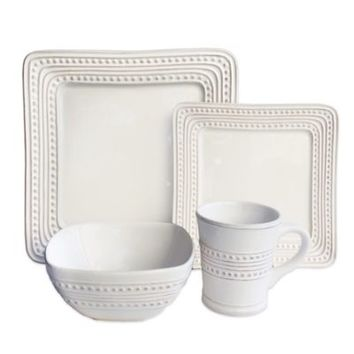 American Atelier Bianca Dotted Square 16-Piece Dinnerware Set in White