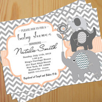 Printable Baby Shower Invitation, Baby Shower Invite - FREE Thank You card included, Gender Neutral, chevron stripe gray