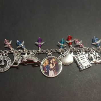 Once upon a time themed stainless steel charm bracelet