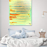 «Pantone Green Lava Yellow Lines», Limited Edition Acrylic Glass Print by Alicia Jones - From $75 - Curioos