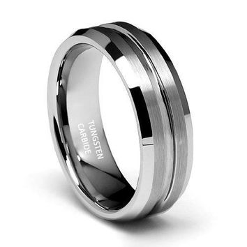 7mm Groved Tungsten Wedding Band (Platinum)