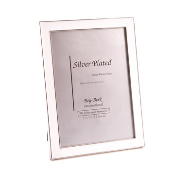 "Silver Plated with White Enamel 5""x7"" Picture Frame, Easel Back"