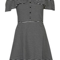 Topshop Stripe Bardot Button Detail Dress | Nordstrom