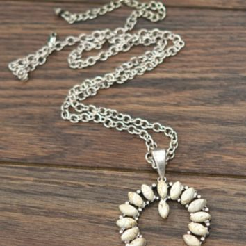 Long Squash Blossom Naja Natural White Turquoise Necklace