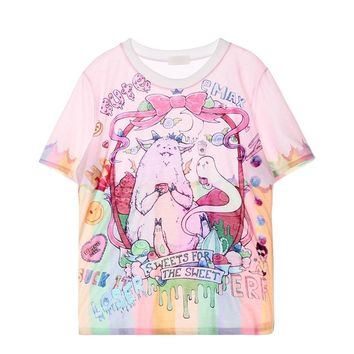 2018 Cute Printed Harajuku Style Tie Dye T Shirt Tombstone/My Little Pony/Unicorn/Rainbow/Bear Kawaii Women T-Shirt Tops