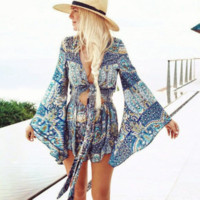 Sexy knot midriff bind Bohemia nation conjoined printed beach romper
