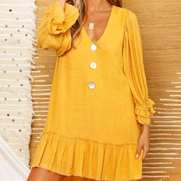 Fashion New Solid Color V-Neck Long Sleeve Dress Women Yellow
