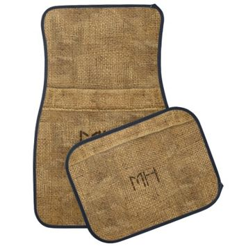 """Burlap"" Mats with Initials Car Mat"