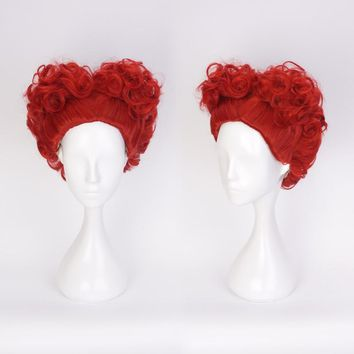 Anime Alice in Wonderland The Red Queen Wig Cosplay Costume Women Short Heat Resistant Synthetic Hair Curly Wigs