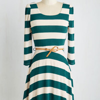 Short Length 3 A-line Sunday Fun Day Dress in Teal and Ivory