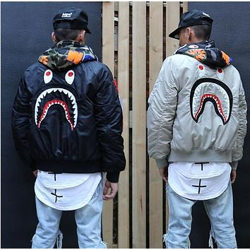 autumn and winter fashion trend of the street wgm embroidery for shark ma1 teenage air force jacket outerwear coat