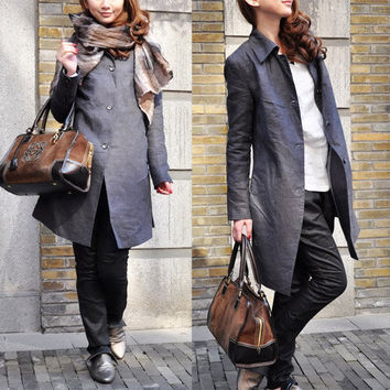 Linen Trench Coat Jacket in Grey - Custom Made