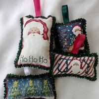 Christmas Tree Ornaments - Gift Tie Ons Set of 4 Santa Claus, Joy