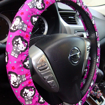 Handmade Steering Wheel Cover Kiss Hello Kitty Purple