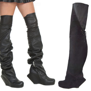 RICK OWENS Thigh-High Wedge Leather Boots 39/8.5